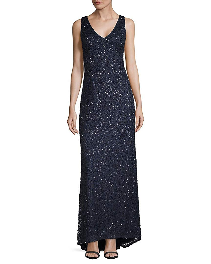 Navy Adrianna Papell Women's Long V Neck Crunchy Bead Gown