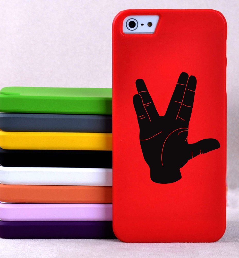 Live Long and Prosper Hand Sign Silhouette - XS - Smartphones, Tablets, and Computers - Vinyl Wall Art Decal for Homes, Offices, Kids Rooms, Nurseries, Schools, High Schools, Colleges, Universities, Interior Designers, Architects, Remodelers