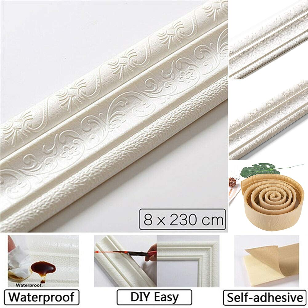 PoeHXtyy 1 Roll Wallpaper Border 3D Pattern Wall Decor Removable Self Adhesive Tiles Sticker