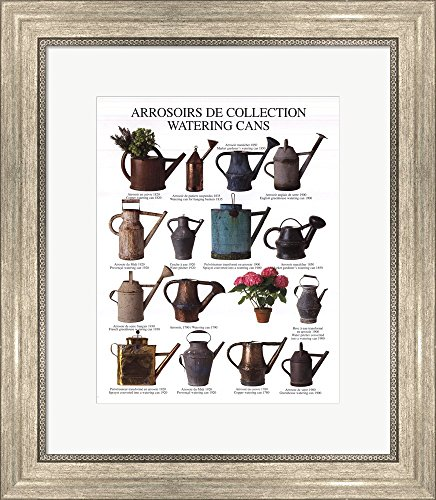 Watering Cans Framed Art Print Wall Picture, Silver Scoop Frame, 16 x 19 inches