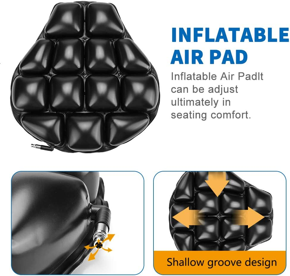 Black Universal Air Motorcycle Seat Cushion Cruiser Touring Saddles Built-in Inflatable Airbag Pad for Comfortable Ride Traveling Pressure Relief Shock Absorption