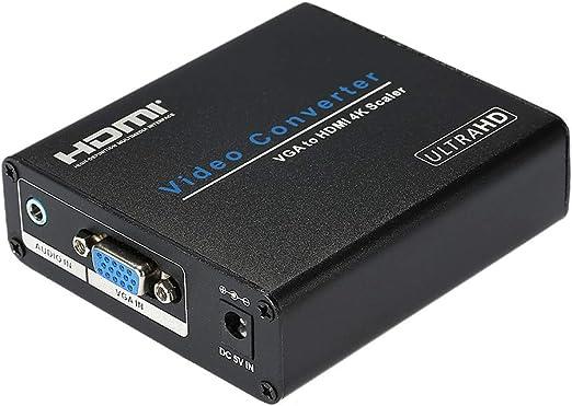 Negaor AM-9330ポータブルVGAからHDMI 4Kx2K金属スケーリングコンバーターボックスVGAスイッチアダプターUSプラグ
