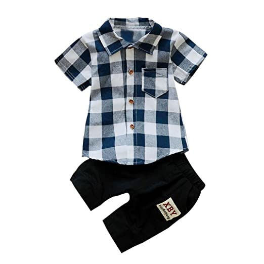 605da66fc Amazon.com  Lanhui 2PCS Kids Baby Boy Plaid T Shirt Tops+Shorts ...
