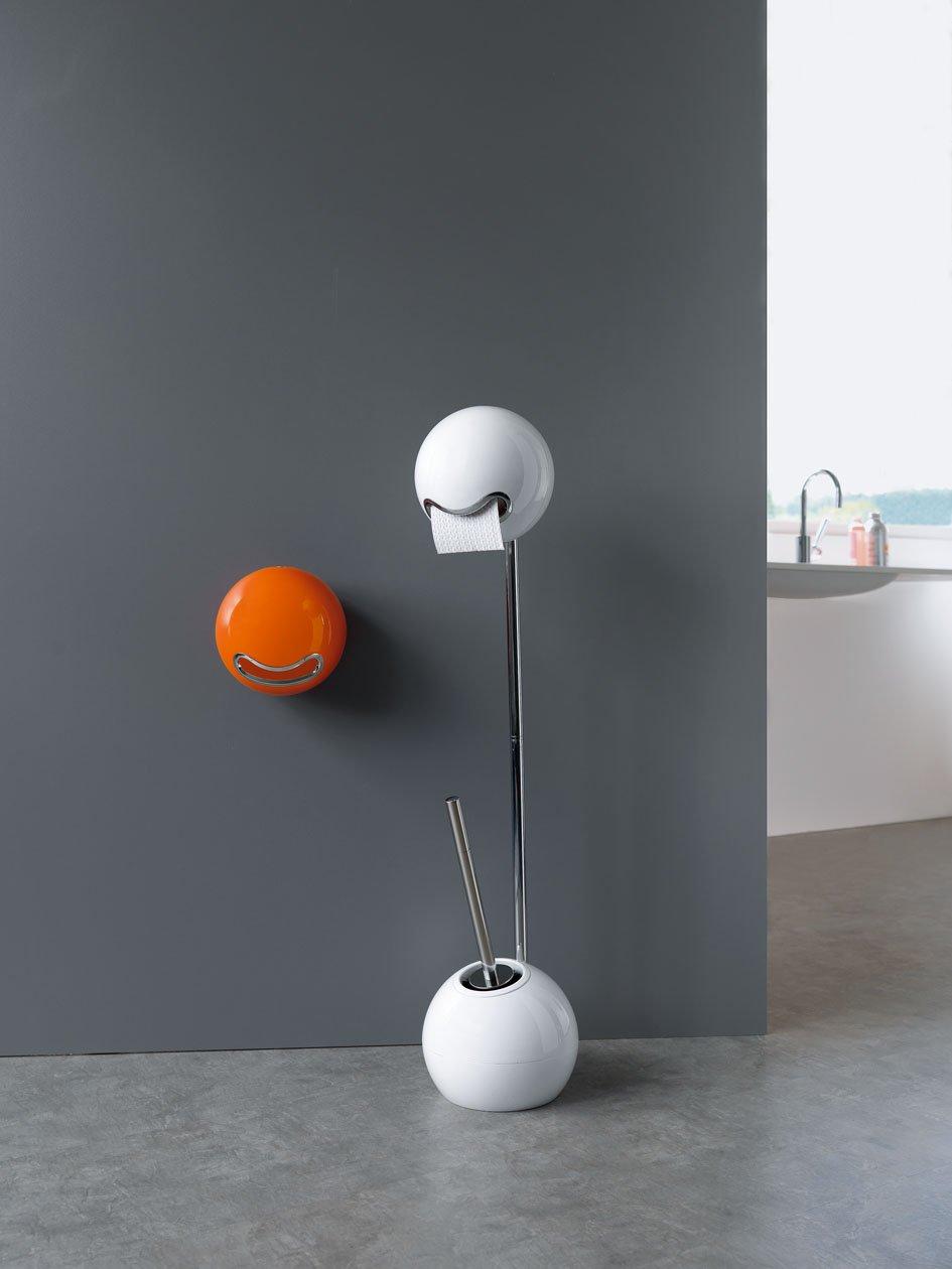 Blanco colecci/ón Bowl Spirella 13,5 x 13,5 x 37,5 cm Poliestirol y Acero Inoxidable Escobilla para el Inodoro