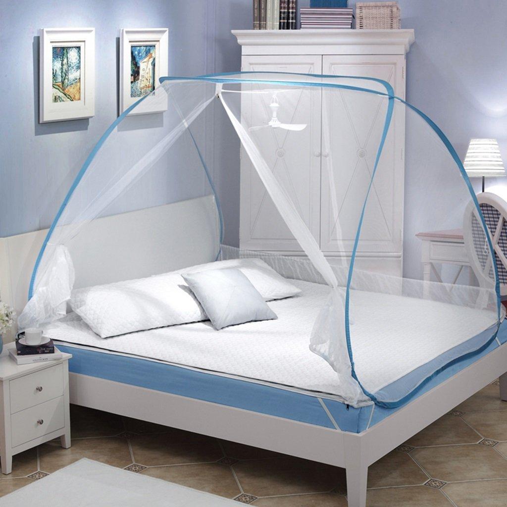 MZ Freie InsGrößetion von Jurten Netzen, ovale Spitze, sechseckigen Doppeldraht, Zwei Öffnungen, Student 1,5 1,8 m m Bett Doppelhaushalt Moskitonetze (Farbe   Blau Side, größe   1.8m(6 Foot) Bed)