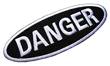 604691330a26 Amazon.com: Name Tag Danger Dangerous Embroidered Iron on Patch Free ...