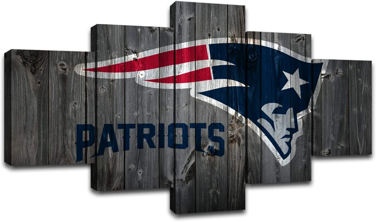 MIAUEN Pictures Sports Football New England Patriots Poster Living Room Wall Decor Canvas Art Home Game Room Decoration Prints Framed Paintings Ready to Hang(60''Wx32''H)