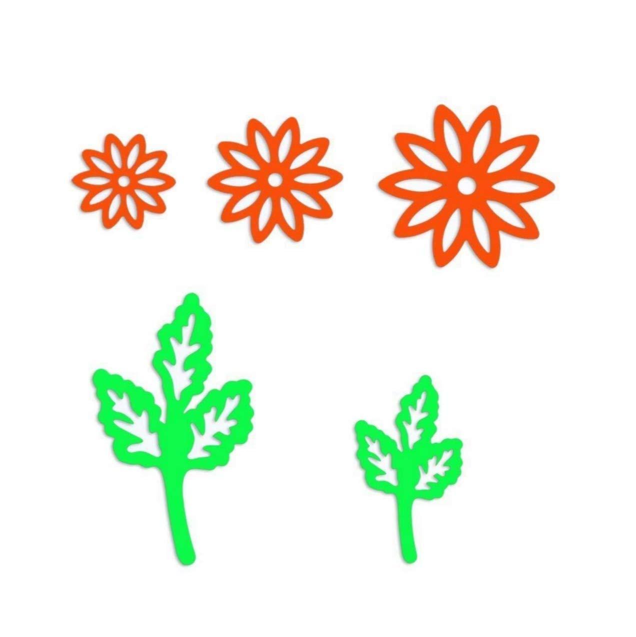 Whitelotous 5pcs Flower Leaves Cutting Dies Handmade DIY Stencils Template Embossing for Card Scrapbooking Craft