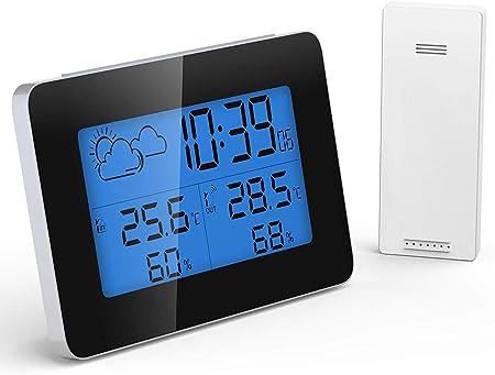 Display a Colori Termometro Digitale Igrometro e Display del Tempo Termometro Igrometro Digitale Stazione Meteo con Sensore,Funzione di retroilluminazione del controllo del suono