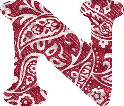 ペイズリー柄 生地 アルファベット N アップリケ レッド アイロン接着可能 大文字 coop (5cm)の商品画像
