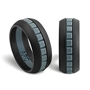 mens silicone wedding ring band arcrings blackgrayblack 8 - Sports Wedding Rings