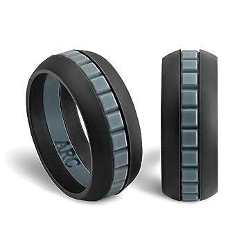 mens silicone wedding ring band arcrings blackgrayblack 8 - Sports Wedding Rings