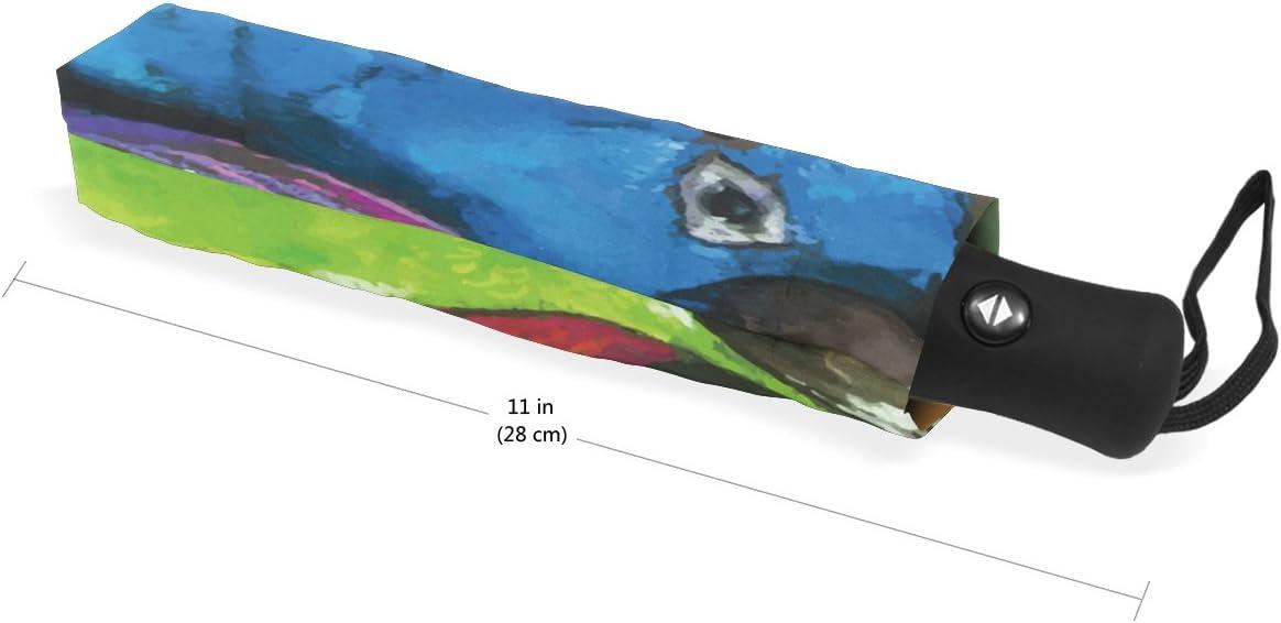 My Little Nest Watercolor Oil Painting Parrot Umbrella Sun Rain Windproof Travel Umbrella with Auto Open Close Button