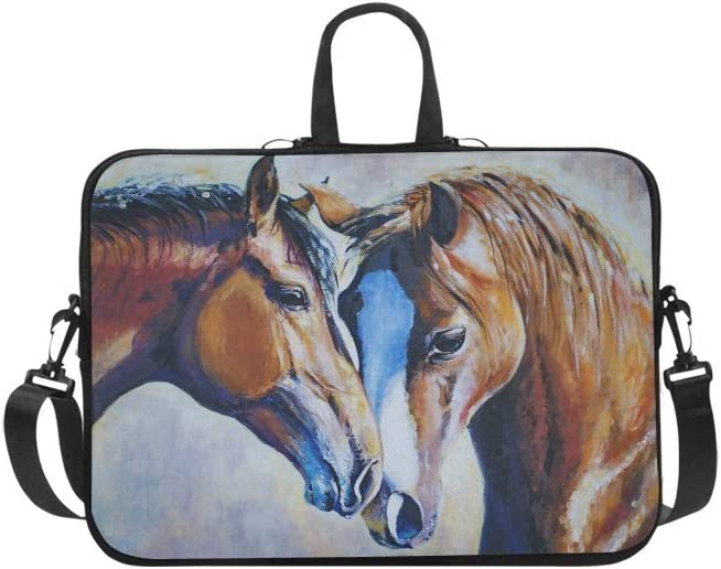 InterestPrint Animal Horse Art Painting Laptop Sleeve Case Bag, Wildlife Horse Shoulder Strap Laptop Sleeve Notebook Computer Bag 13.3 Inch for MacBook Pro Air HP Dell