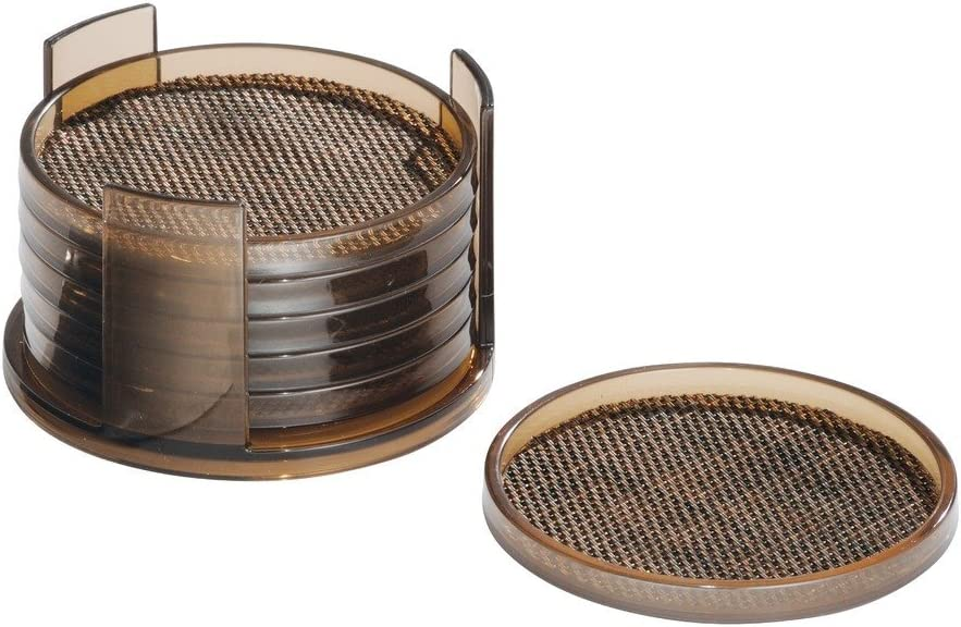 "iDesign Twillo Plastic Drink Coasters with Holder for Home Counters, Kitchen, Dining Room, Living Room, Patio, Coffee Table, 4.25"" x 4.25"" x 2.5"", Set of 6 - Bronze"