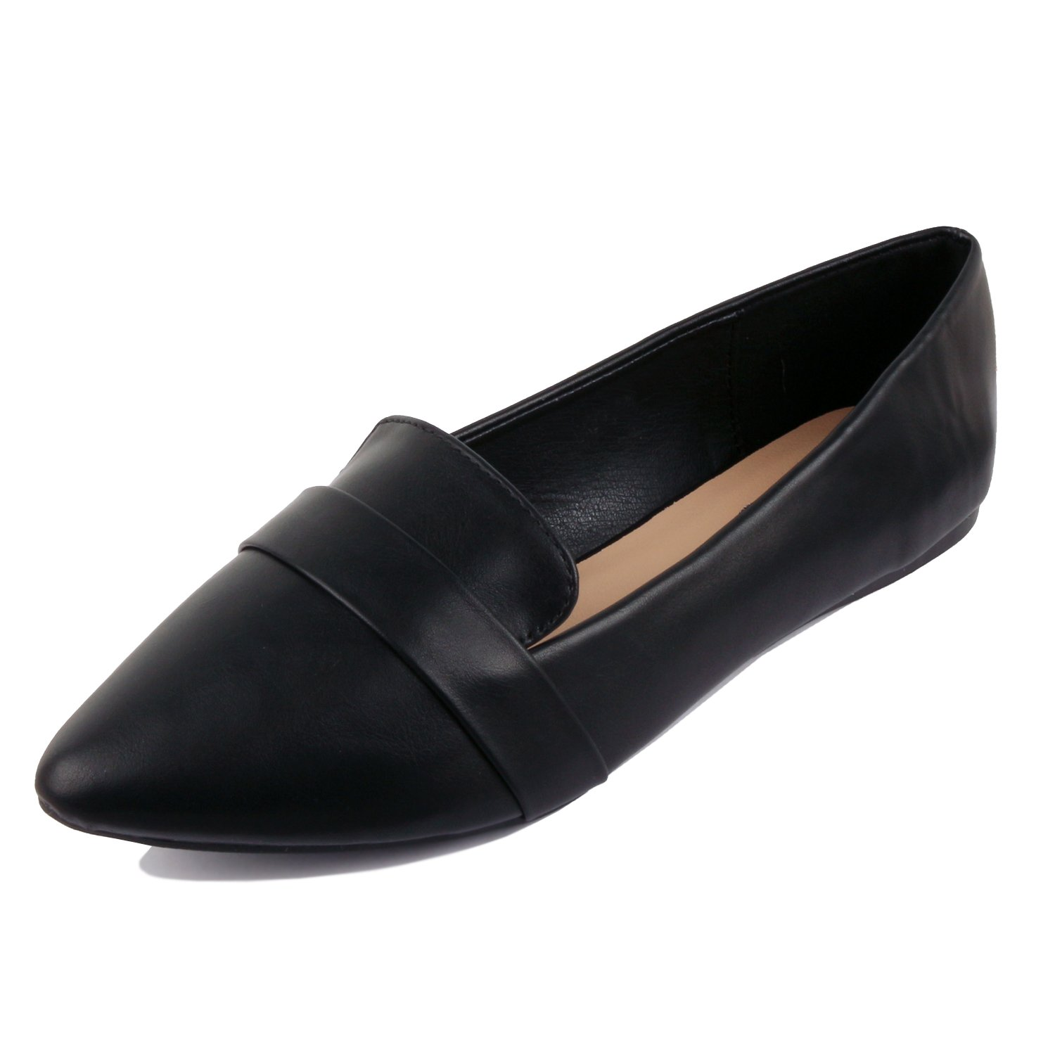 Guilty Heart - Women Soft Comfortable Pointy Toe Slip On Penny Loafer Flats, Black, 8.5 B(M) US
