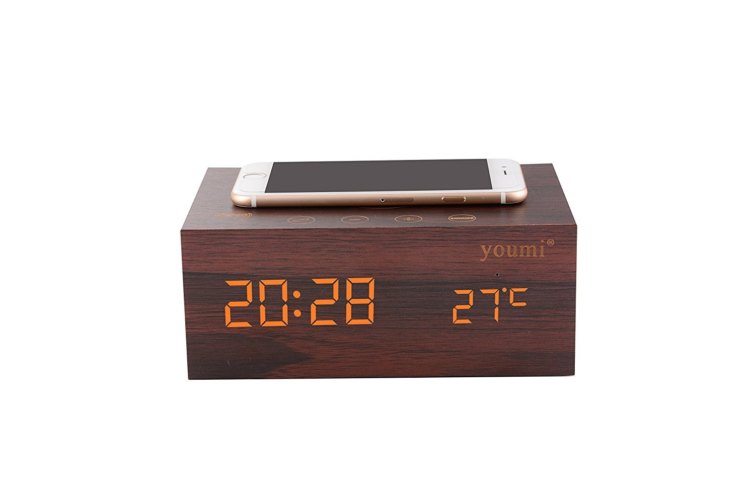 YOUMI Multi-Function Stereo Bluetooth Wooded Environmental Speaker Wireless Charger with Built in Mic, Thermometer,Clock, NFC and LED Time Display for Smart Phones, MP3 Players,And More (Brown)