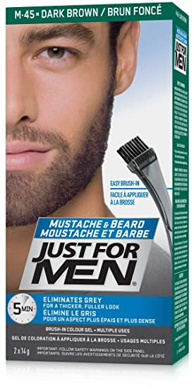 Just For Men Mustache & Beard Brush-In Color Gel, Beard Coloring for Men,  Dark Brown