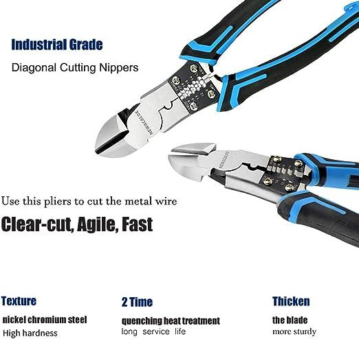 5 pulgadas alicates diagonales electr/ónicos Cable lateral Pinzas de corte Herramienta de cortador de alambre Alicates de cable TU-109A
