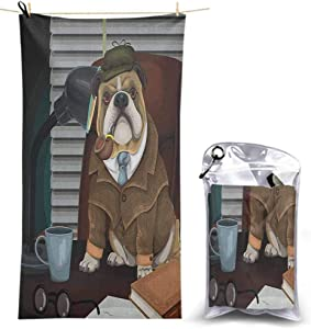Ahuimin Microfiber Beach Towels Oversize Quick Dry Towel, Traditional English Detective Dog with a Pipe and Hat Sherlock Holmes Image 55 x 27.5 Inch Lightweight Beach Towel for Travel