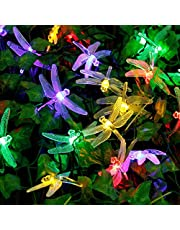 Solar String Lights,WONFAST 20FT/6M 30 LED Dragonfly Christmas Fairy Garden Lights for Outdoor Home Lawn Party and Holiday Decorations (Purple)