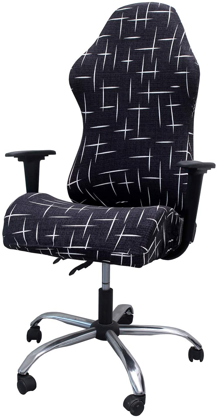 WOMACO Gaming Chair Covers Stretch Printed Computer Chair Slipcover for Leather Office Game Reclining Racing Ruffled Gamer Chair Protector (Star City, L)