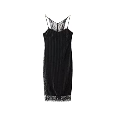 Processes Sexy Lace Velvet Party Dress Women Chic V-Neck Spaghetti Strap Bodycon Dress Mini Slip Dress Female Vestidos Black at Amazon Womens Clothing ...