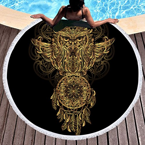 Sleepwish Gold Beach Towel, Round Beach Towel Blanket with Tassels, Boho Round Tapestry, Circle Beach Mats (Dream Catcher Owl, 60'') by Sleepwish