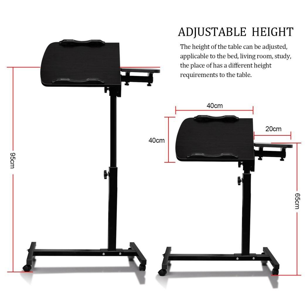 Black Koolee Mobile Laptop Desk Computer Table Turnlift Adjustable Notebook Macbook Table Cart