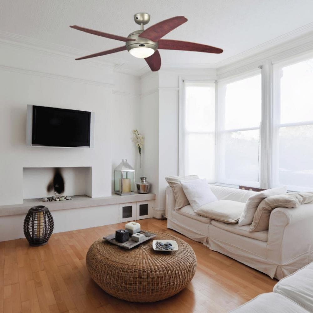 Westinghouse Ceiling Fans 72557 Bendan One-Light 132 cm Five Indoor Ceiling Fan, Opal Frosted Glass, Satin Chrome Finish with Wengue Blades Dark Pewter