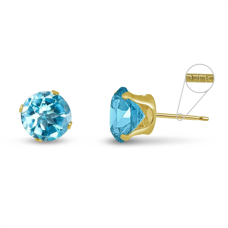 June Birthstone Round 3mm 14k Yellow Gold Genuine Opal 0.18 cttw Stud Earrings