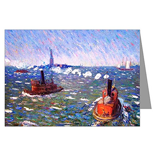 Tugboat Set - Twelve Note Cards of William Glackens Ashcan School Impressionist Oil Painting Titled Breezy Day, Tug Boats, New York Harbor 3.5x5 inch Boxed Set