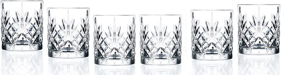 Lorren Home Trends Crystal Melodia Collection Double Old Fashioned Glass Set
