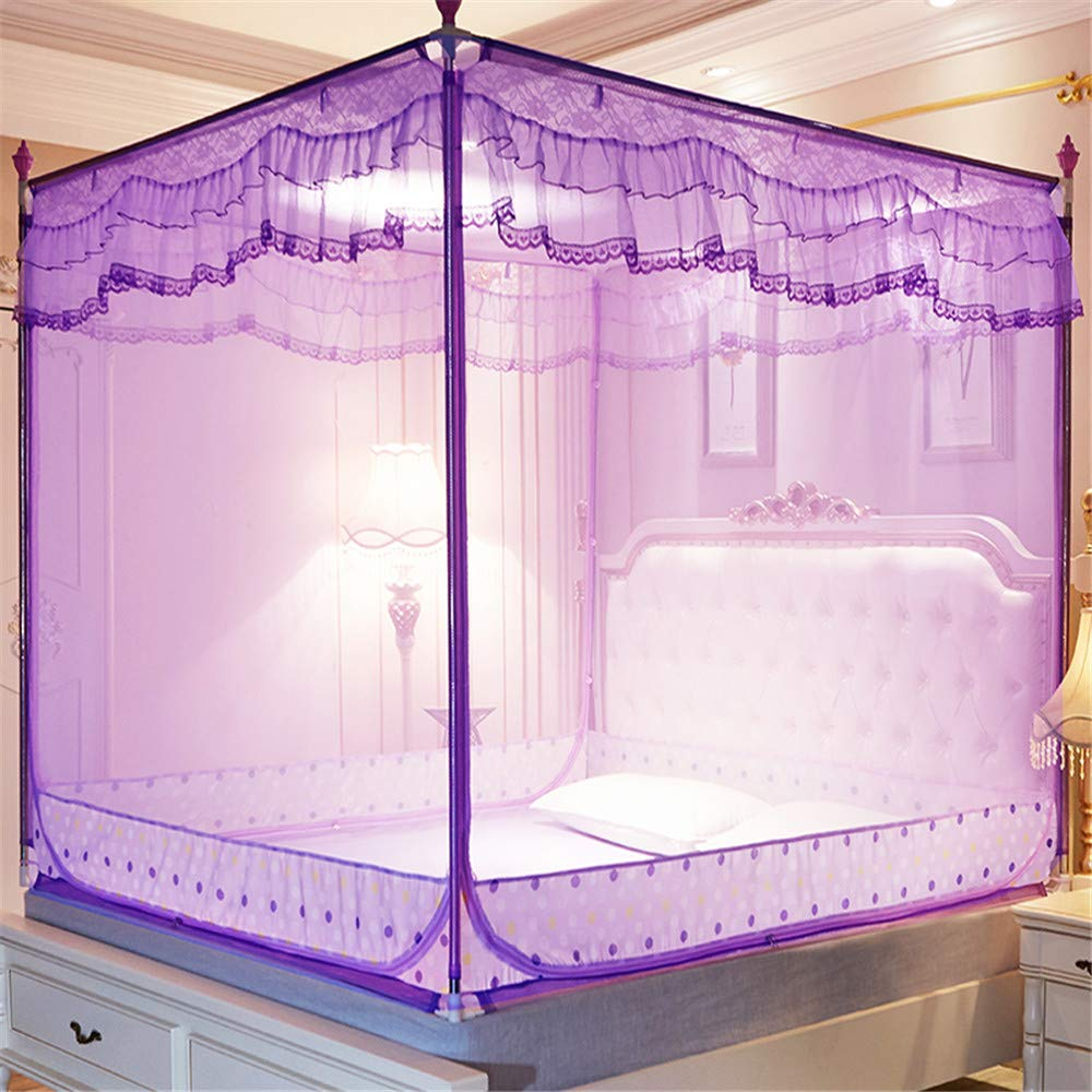 Mosquito net Bedroom Double Bed Insect-Proof Gauze Bills Children's Princess Wind Student Dormitory Summer Decoration Account, Purple, 1.2M by Lostryy-Mosquito Nets Baby (Image #2)