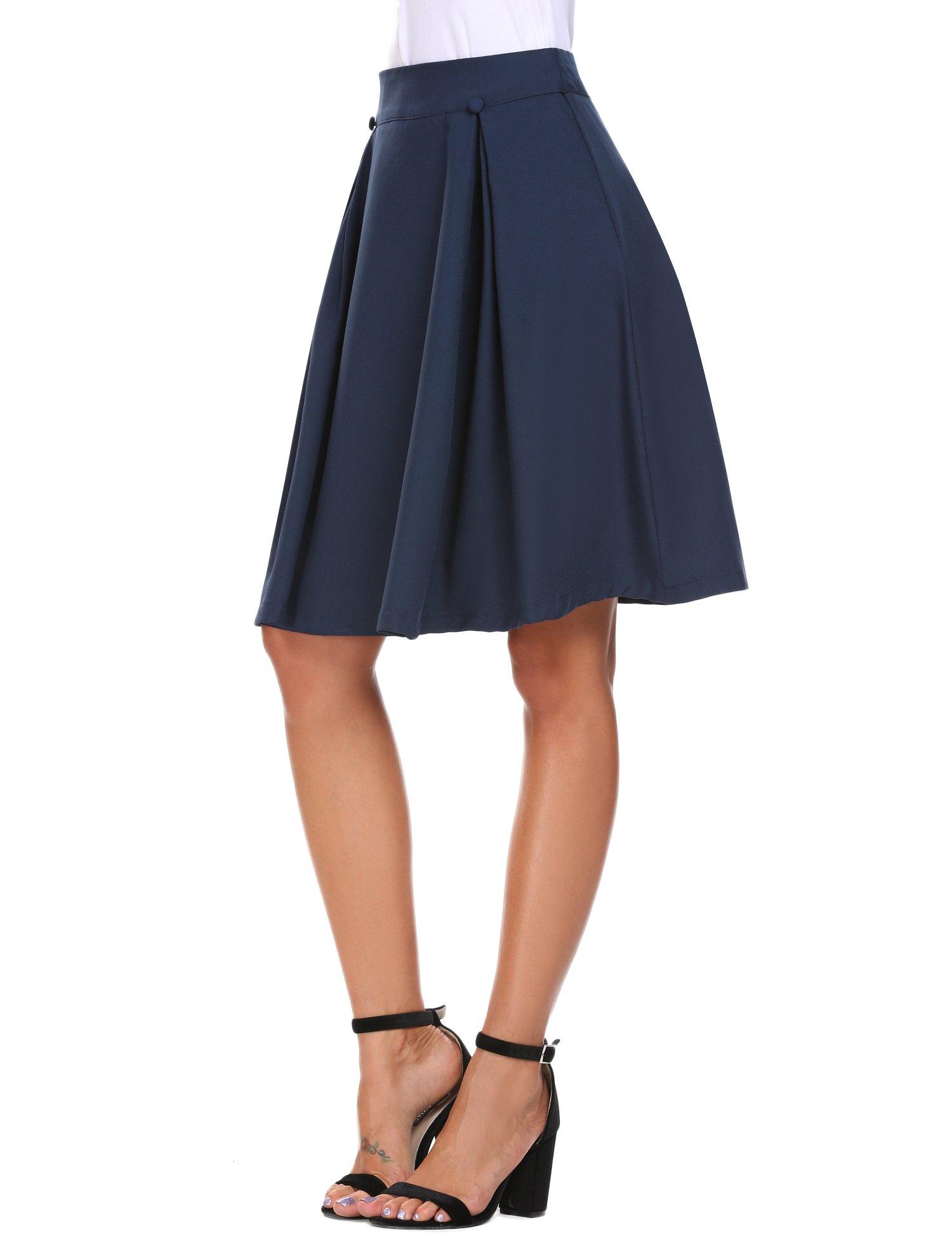 Zeagoo Women's High Waist Pleated Midi Skirt Dark Blue XL for Teens