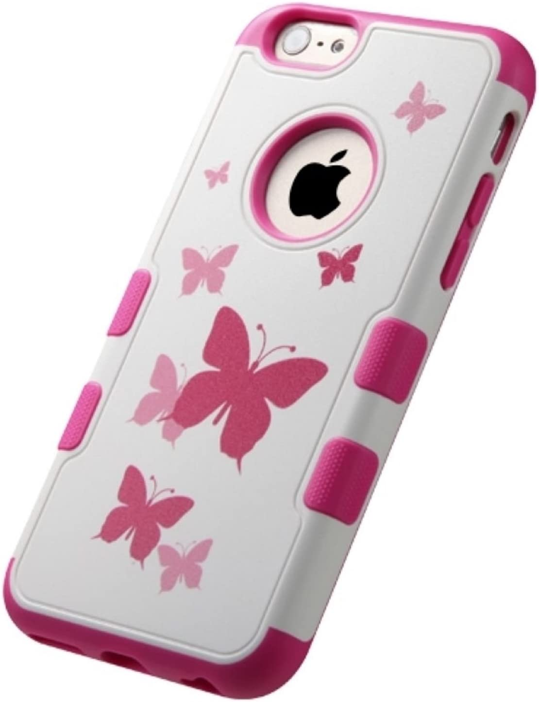 Asmyna TUFF Merge Hybrid Protector Cover for iPhone 6 - Retail Packaging - Butterfly Dancing/Hot Pink