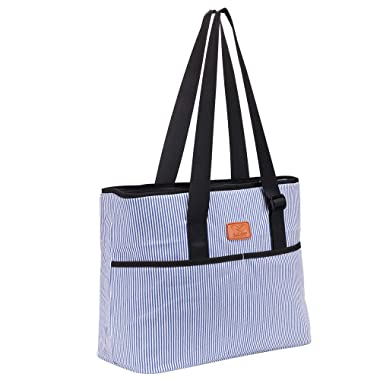 Cooler Bag Large Lunch Bag for Women 2 Zipper Compartment Leakproof Beach Shopping Tote Bag with Extra Pockets Adjustable Strap (Blue N28) by F40C4TMP