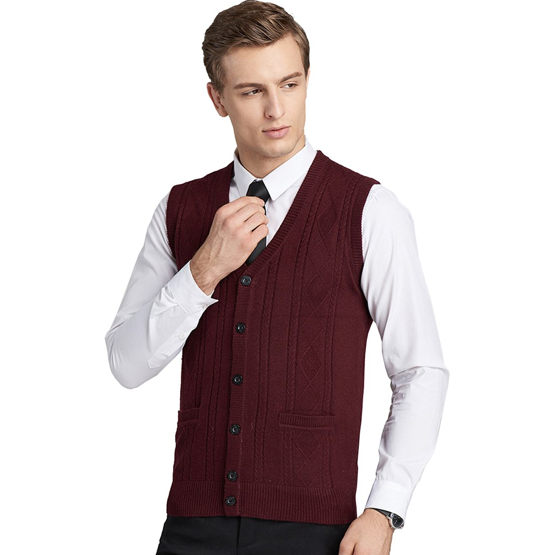 Autumn Winter Wool Vest Male Cardigan Knitting Vest Sleeveless Sweater Waistcoat