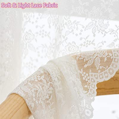 Buy Beige Rose Off White Lace Sheer Curtains Window Drapes For Bedroom Living Room Rod Pocket Retro Style Vintage To Light Filtering Airy Set Of 2 Panels 63 Inch Long Online In