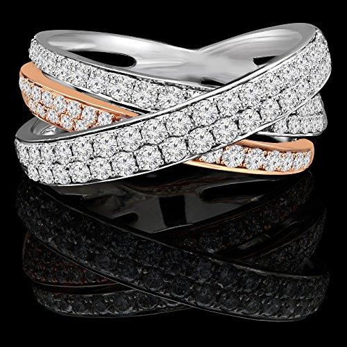 11/3ctw Diamant Fashion Cocktail Bague anniversaire bande en or 18K Blanc et Rose (md160285)