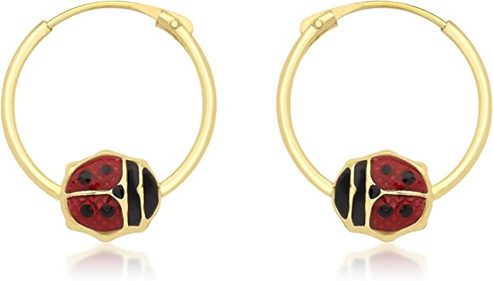 9ct Yellow Gold ladybird Childrens Earrings