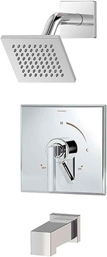 Symmons S 3602 Sh4 T4 Trm Duro 1 Handle Tub And Shower Trim Kit With Square Showerhead And Volume Control In Chrome Valve Not Included