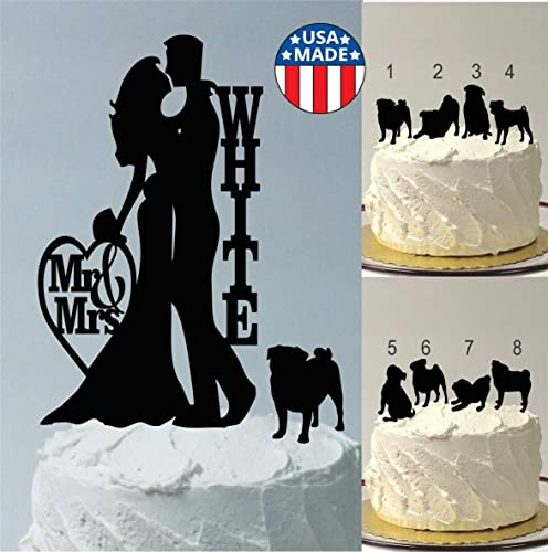 Amazon Com With Pet Pug Personalized Wedding Cake Topper