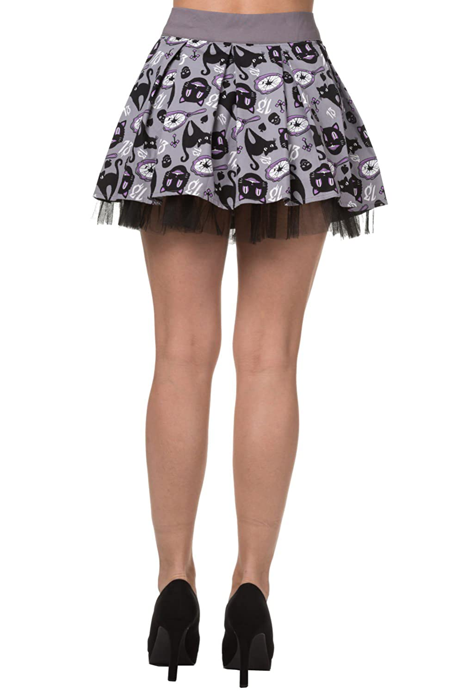 Banned Apparel Nine Lives Black Cats Broken Mirrors Gothic Mini Skirt Grey