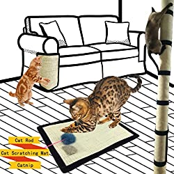 Cat Scratch Mat, Cat Playing Flexible Scratching Pad + Catnip + Cat Rod, Natural Sisal Cat Scratching Post Mat for Cat Tree, Small Size, 16X12 IN