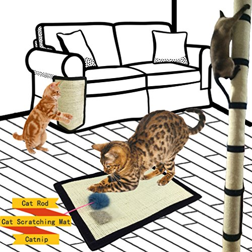 618vYVsqb4L - Cat Scratching Mat With Catnip Cat Toy Set, Cat Scratch Protector for Couch, Chair, Desk Legs, Cat Scratcher Replacement for Cat Tree, Cat Scratching Post, Natural Sisal Mat with Strong Velcro