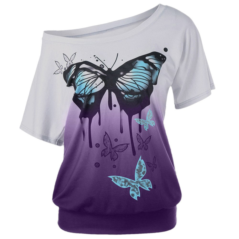 WILLTOO Women Butterfly Printing T-Shirt Short Sleeve Tops Blouse Plus Size
