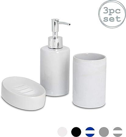 Soap Pump Designer 3-piece Bathroom Accessory Set Tumbler /& Toothbrush Holder