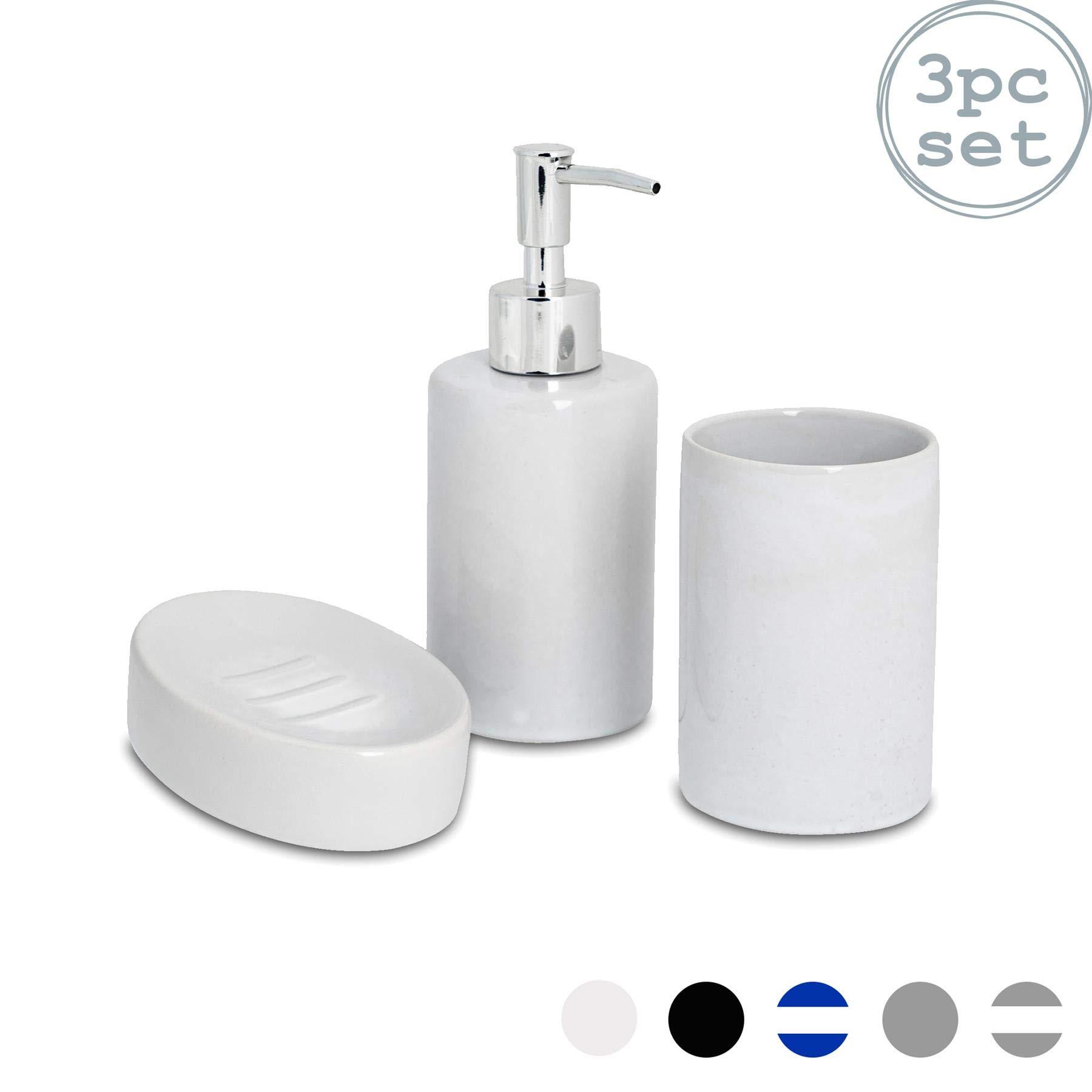 Harbour Housewares 3 Piece Bathroom Accessories Set Soap Dispenser Dish And Toothbrush Holder White Buy Online In Burundi At Burundi Desertcart Com Productid 47950167