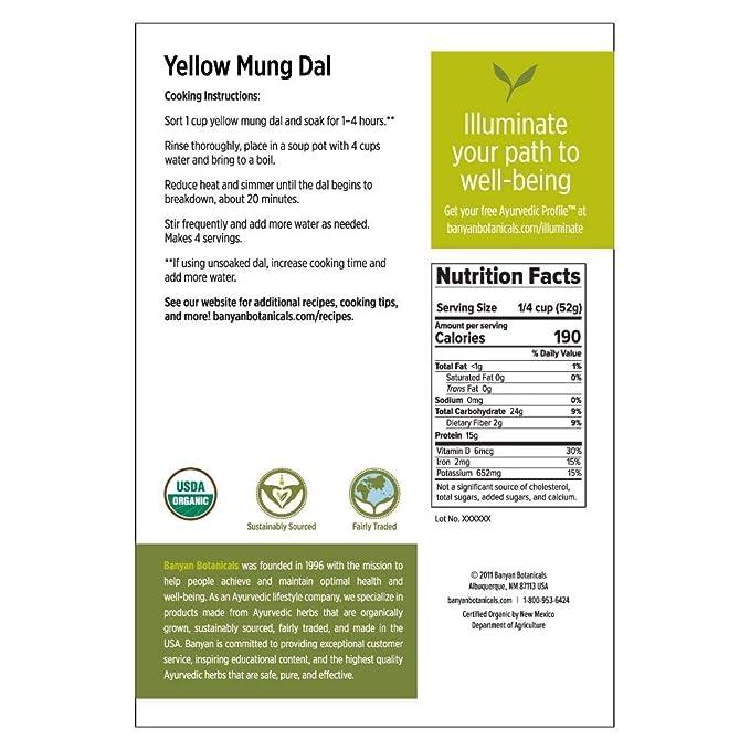 Banyan Botanicals Organic Yellow Mung Dal Certified Usda Organic Non Gmo Vegan Gf Ayurvedic Food For Kitchari Cleansing 5 Lbs Amazon Com Grocery Gourmet Food